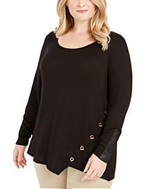Plus Size Toggle-Trim Sweater