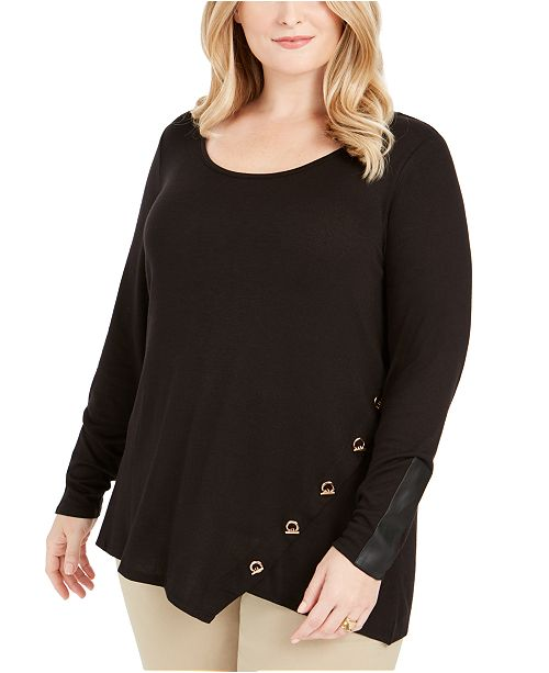 Belldini Plus Size Toggle-Trim Sweater