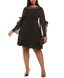 Plus Size Chiffon-Sleeve A-Line Dress