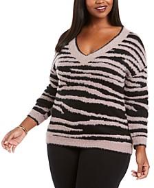 Plus Size Zebra-Print Eyelash Sweater
