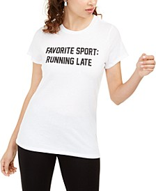 Juniors' Running Late Graphic T-Shirt