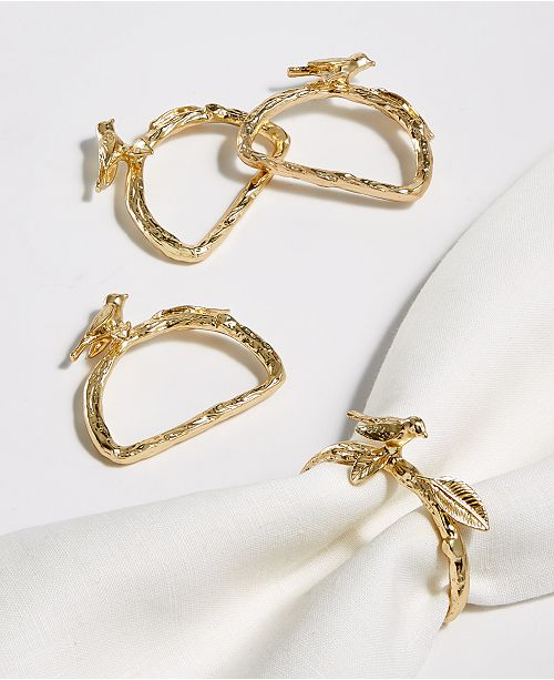 Martha Stewart Collection Bird Napkin Rings, Set of 4, Created for Macy's