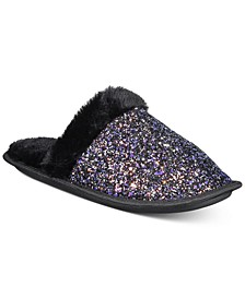 Women's Glitter Slippers With Faux-Fur Trim, Created For Macy's