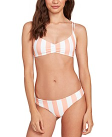 Juniors' Coco Printed V-Neck Bikini Top & Printed Cheeky Bikini Bottoms