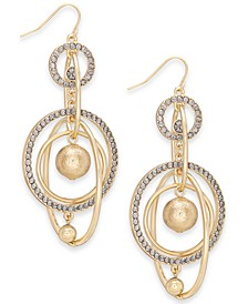 Gold-Tone Pavé Orbital Drop Earrings, Created For Macy's