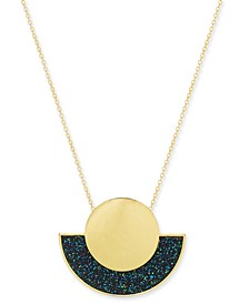 "Gold-Tone Glitter Geometric Pendant Necklace, 18"" + 3"" extender, Created For Macy's"