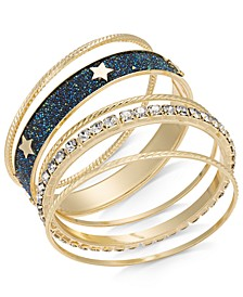 Gold-Tone 7-Pc. Sest Crystal Star Bangle Bracelets, Created For Macy's