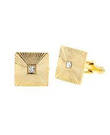 Jewelry 14K Gold Plated Crystal Square Cufflinks