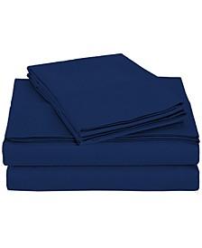 University 6 Piece Navy Solid Queen Sheet Set