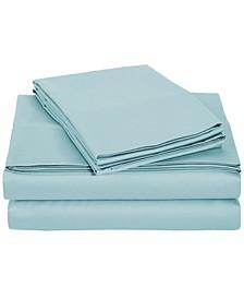 University 6 Piece Light Blue Solid Queen Sheet Set