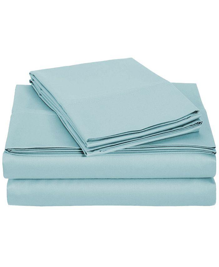 Universal Home Fashions - University 6 pc Light Blue Solid Queen Sheet Set