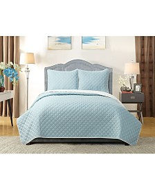 University Solid Reversible 3pc Full/Queen quilt set Baby Blue reverse to White
