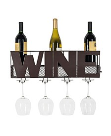 Decorative Wall Mount Wine Bottle and Long Stem Rack