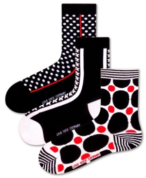 3 Pack Women's Socks Bundle with Polka Dots and Stars by