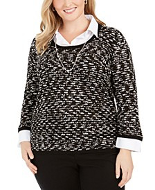 Plus Size Well Red Layered-Look Sweater