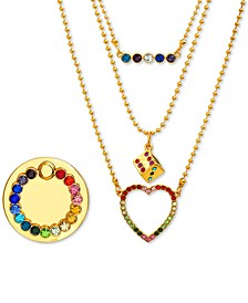 "Gold-Tone Multicolor Pavé Layered Pendant Necklace & Phone Ring Set, 14-1/2"" + 3"" extender"