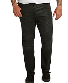MVP Collections Men's Big & Tall Black Waxed Denim Biker Jeans