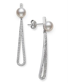 Cultured Freshwater Pearl (6-7mm) and Cubic Zirconia Encrusted Drop Earrings in Sterling Silver