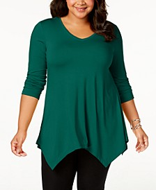 Plus Size Handkerchief-Hem Top, Created for Macy's