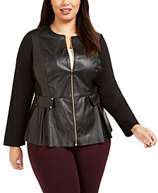 Plus Size Faux Leather Zip Jacket, Created For Macy's