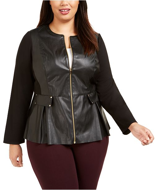JM Collection Plus Size Faux Leather Zip Jacket, Created For Macy's