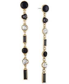 Gold-Tone Crystal & Heart Stone Linear Drop Earrings