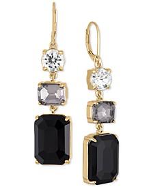 Gold-Tone Crystal & Stone Triple Drop Earrings