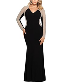XSCAPE Plus Size V-Neck Gown