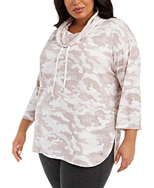 Plus Size Camo-Print Cowlneck Active Top