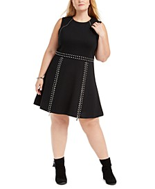 Plus Size Studded Fit & Flare Dress