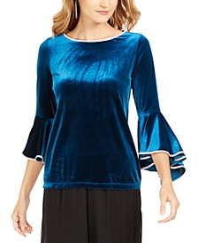 Embellished-Trim Velvet Bell-Sleeve Top