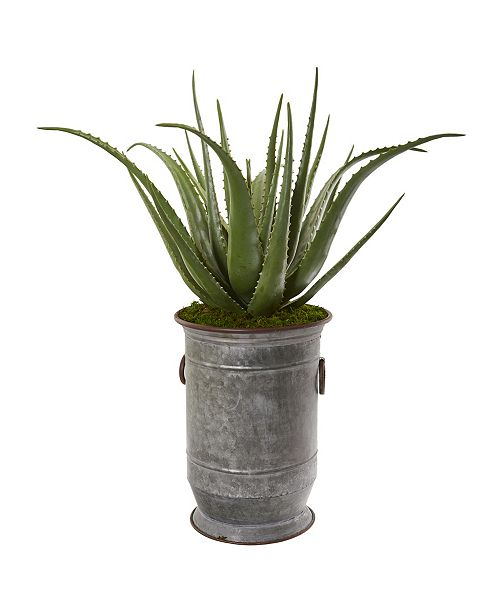 "Nearly Natural 31"" Aloe Artificial Plant in Metal Planter"