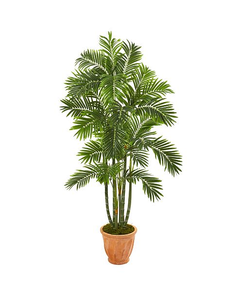 """Nearly Natural 68"""" Areca Palm Artificial Tree in Orange Planter"""