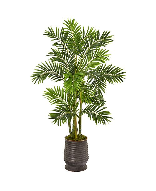 "Nearly Natural 63"" Areca Palm Artificial Tree in Ribbed Metal Planter"