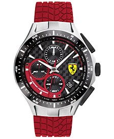 Men's Chronograph Race Day Red Silicone Strap Watch 44mm
