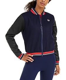 Anais Varsity-Stripe Bomber Jacket