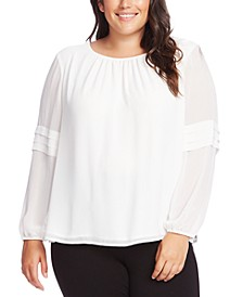 Plus Size Pleated Chiffon Blouse