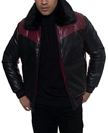Men's Faux Leather Mixed Media Chevron Quilt Bomber Jacket with Removable Faux Fur Collar