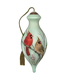 The NeQwa Art Cardinals In Sumac hand-painted blown glass Christmas ornament