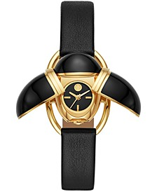 Women's Scarab Black Leather Strap Watch 24x32mm