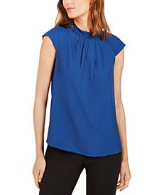 Pleated Stand-Collar Top