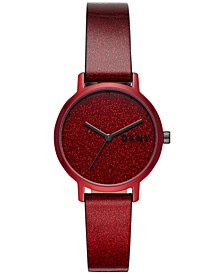 Women's Modernist Red Glitter Ombré Polyurethane Strap Watch 32mm