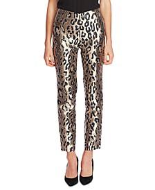 Leopard-Print Jacquard Pants