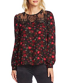 Printed Lace-Yoke Blouse