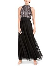 Petite Sequin-Top Gown