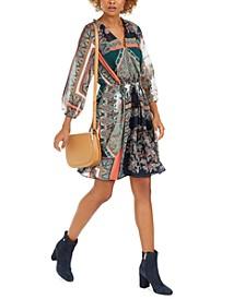 Printed Tassel-Tie Blouson Dress