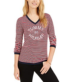Cotton Striped V-Neck Sweater, Created for Macy's