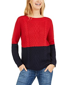 Colorblocked Cable-Knit Sweater, Created For Macy's