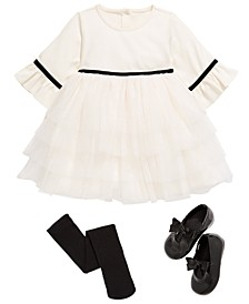 Baby Girls Ruffle Dress, Tights & Bow Shows, Created for Macy's