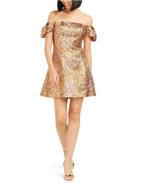 Aidan by Aidan Mattox Off-The-Shoulder Metallic Dress